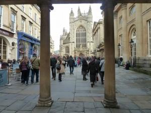 Bath Abbey through the colonade