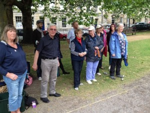Playing Petanque in Queen Square.
