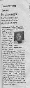 The report in the German newspaper about the loss of the Chairman of the Anglo German Society